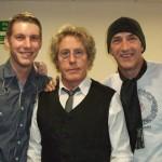 Tony Lowe, Greg Pringle, Roger Daltrey, Simon Townshend, Phil Spalding backstage at Ropetackle